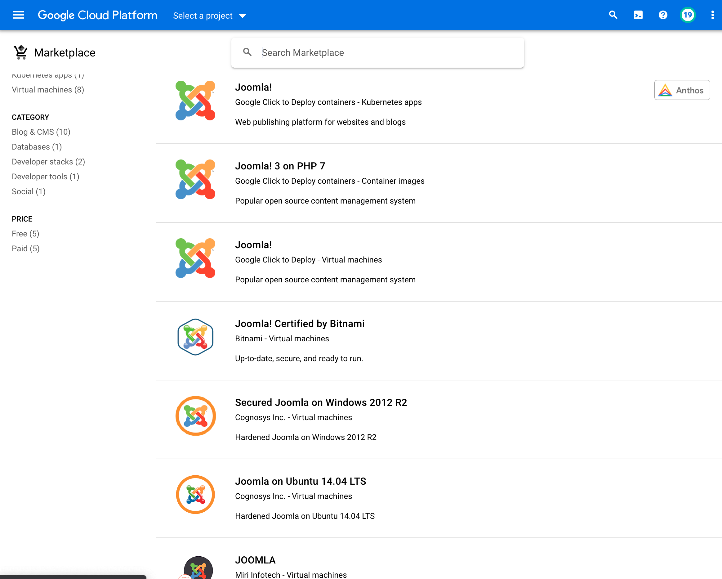 GCP Marketplace VM Images